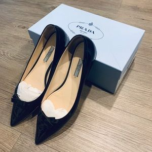 Prada Patent Leather Pointed Toe Flats